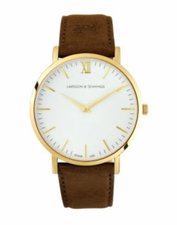 LARSSON & JENNINGS Lugano 40mm Gold Brown Leather mens