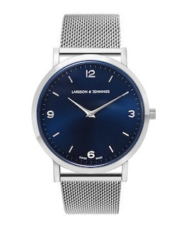 LARSSON & JENNINGS mens Lugano 38mm Silver & Navy Watch