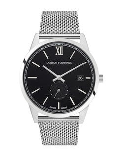 LARSSON & JENNINGS mens Saxon 39mm Watch Silver & Black