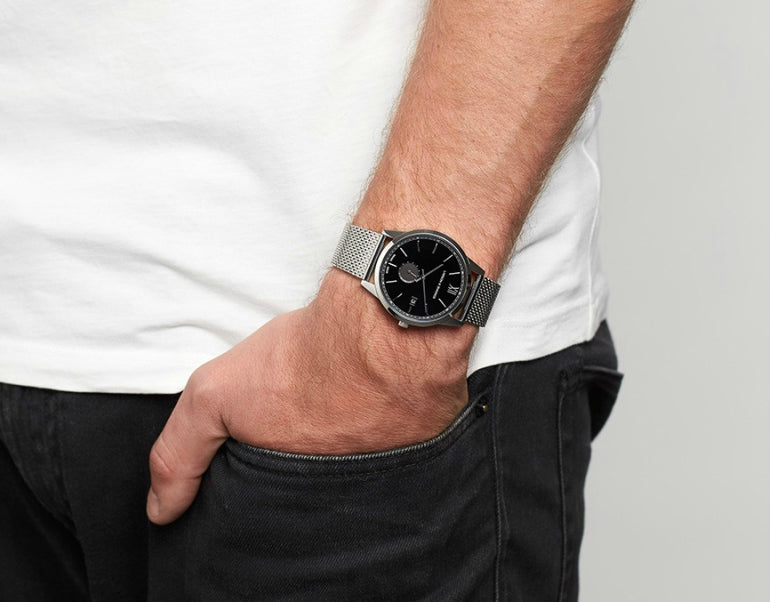 Lugano Saxon 39mm Watch In Silver And Black Larsson and Jennings