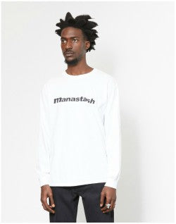 MANASTASH 90s Logo Long Sleeved T Shirt II White Mens