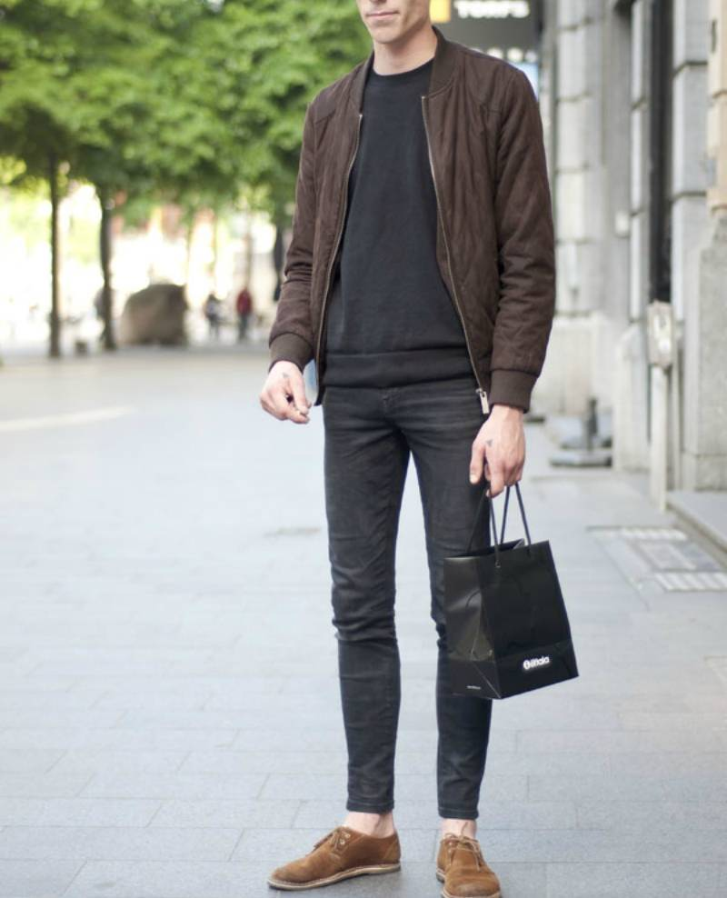 d4342b3b5fe ... the idle man suede bomber brown mens street style
