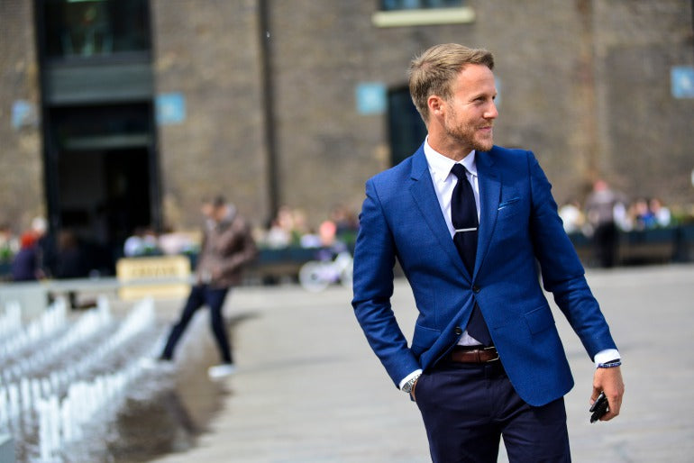 Man in Blue Suit Street Style
