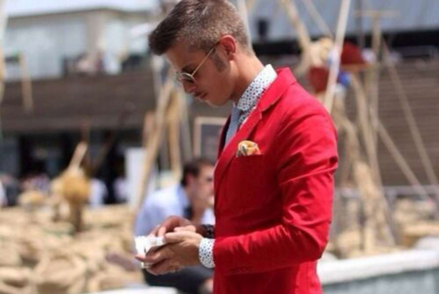 Mens Bright Red Blazer Style Guide Shirt Sunglasses