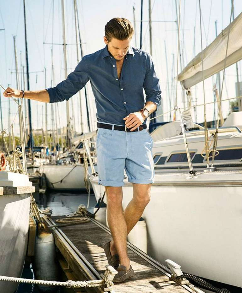 Mens Style Blue shirt Shorts Boat Shoes