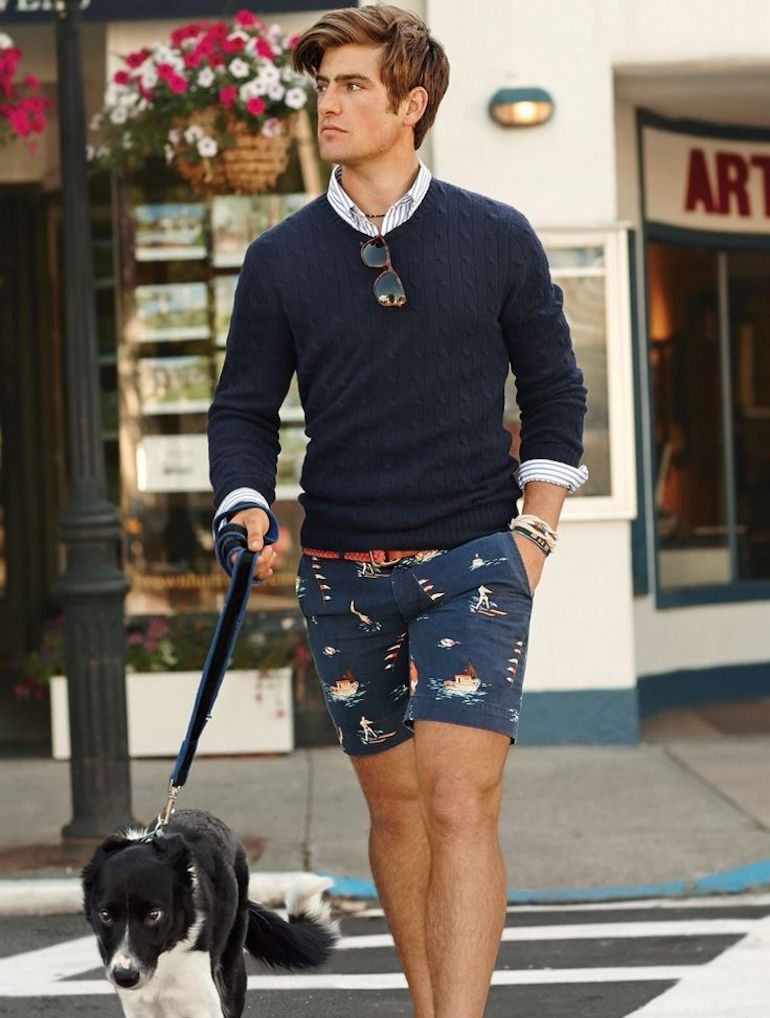Mens Summer Street Style Shorts Jumper Navy Blue