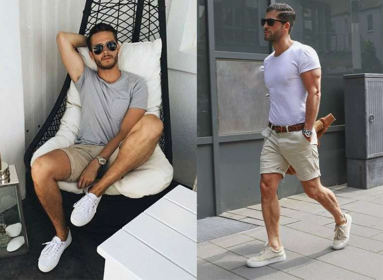 Mens Summer Street Style Shorts T-shirt White Beige