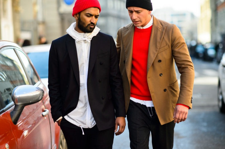Mens camel coat and red jumper streetstyle