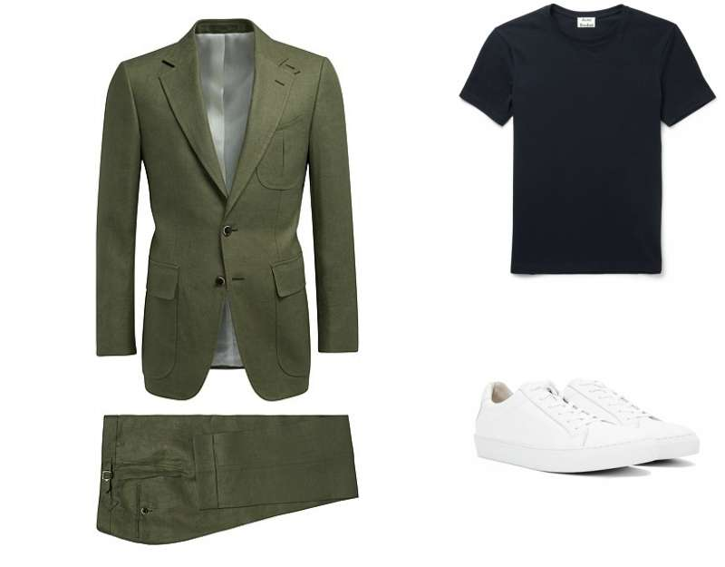 Olive green suit navy tee white trainers mens