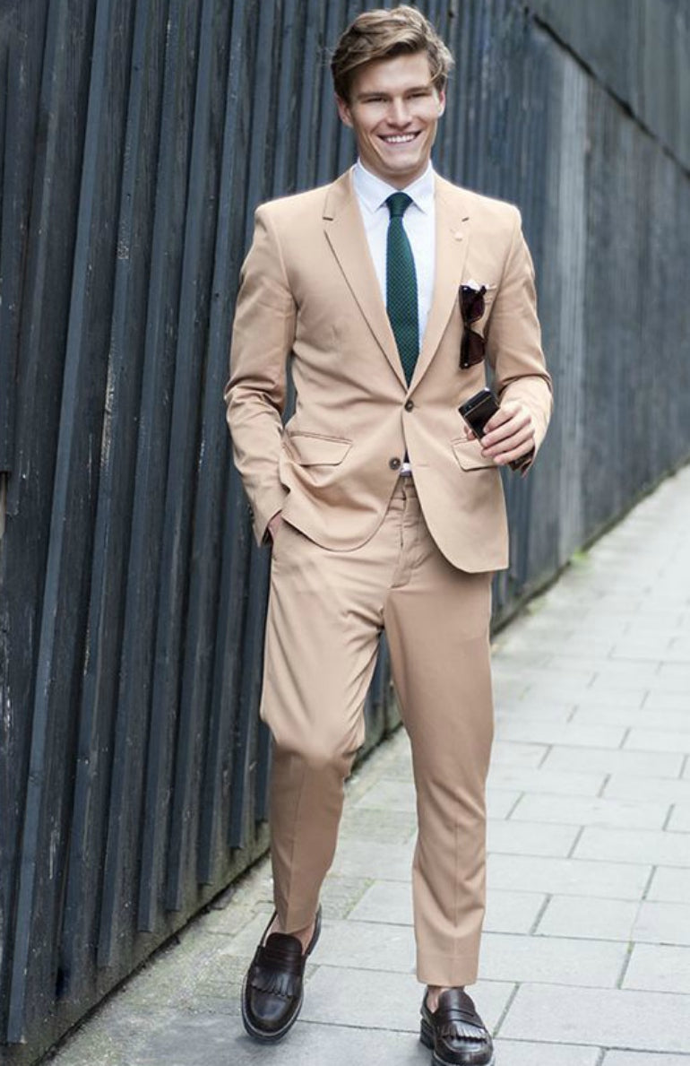 Oliver Cheshire summer suit beige suit mens street style