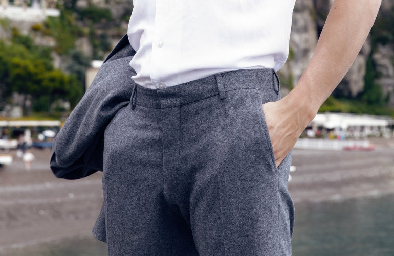 grey trousers white shirt mens street style