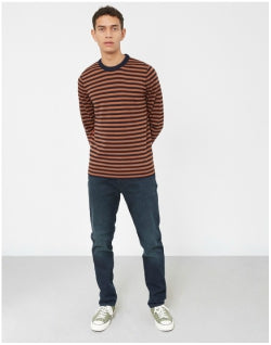 PAUL SMITH Crew Neck Knit Navy & Tan Stripe Mens