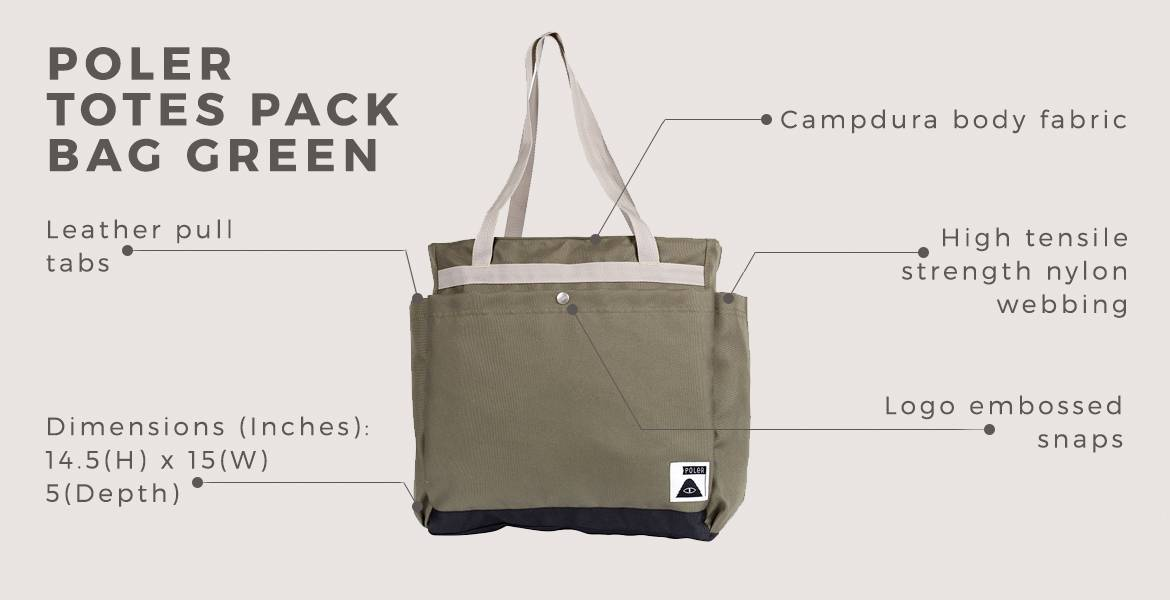 POLER Totes Pack Bag Green for men