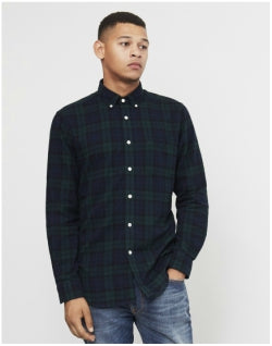 PORTUGUESE FLANNEL Bonfim Check Button Down Shirt Green Mens