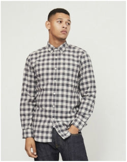 PORTUGUESE FLANNEL Classica Check Button Down Shirt Grey Mens
