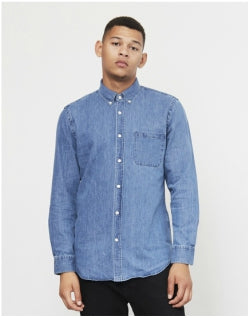 PORTUGUESE FLANNEL Ganga Button Down Denim Shirt Blue Mens
