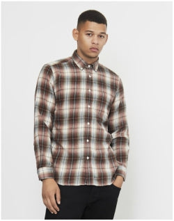 PORTUGUESE FLANNEL Mex Plaid Shirt Cream & Red Mens