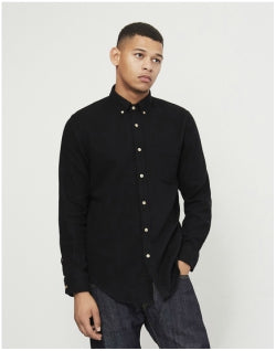 PORTUGUESE FLANNEL Teca Brushed Shirt Black Mens