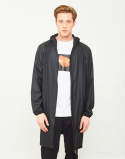 RAINS Base Jacket Long Black mens