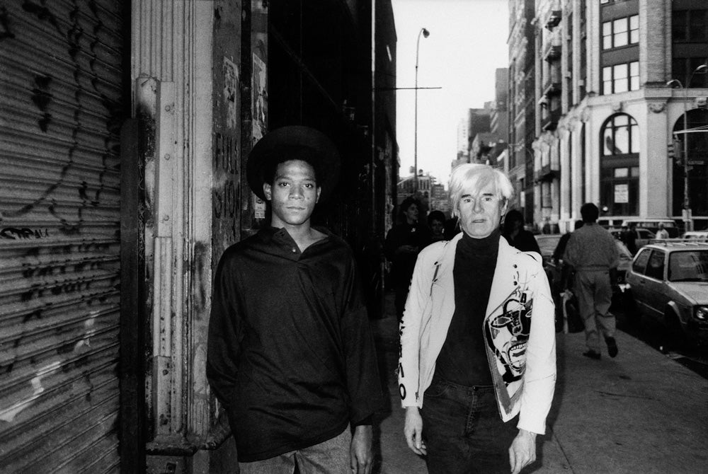 Photo Credit: Ricky Powell - Warhol and Warhol on Mercer St. NYC. 1985.