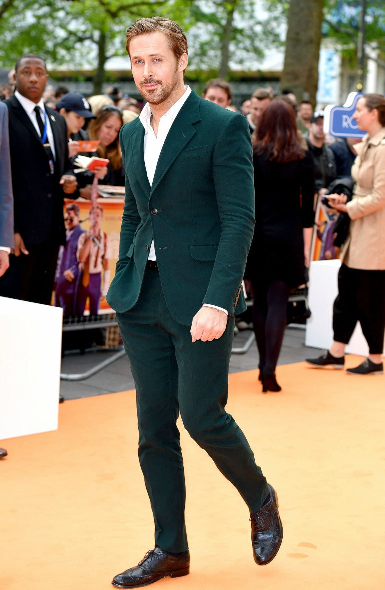 Ryan-gosling-green-corduroy-suit-red-carpet