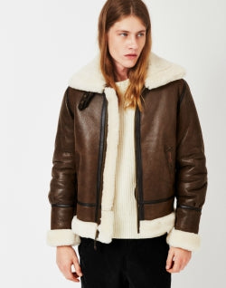 SCHOTT NYC Bombardier Shearling Jacket Brown