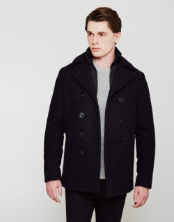 schott nyc cyclone peacoat with removable lining navy mens