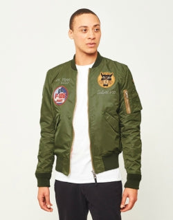 SCHOTT NYC Embroidered Souvenir Bomber Jacket Green mens