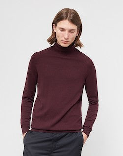 SELECTED Adam Roll Neck Jumper Burgundy
