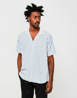 SOULLAND Cornwall Stripe Shirt Blue mens