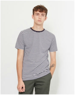 SUNSPEL Q82 Short Sleeve Stripe T-Shirt White & Navy Mens