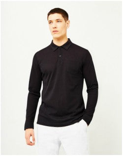SUNSPEL Long Sleeve Riviera Polo Shirt Black Mens