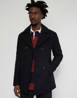 Schott NYC Cyclone Classic Peacoat With Detachable Collar