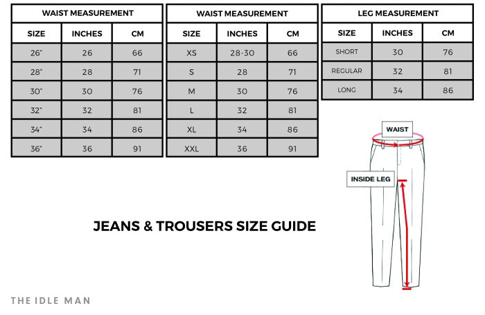Size Guide Jeans Trousers