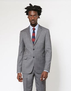 Slim Textured Pure Wool Suit Jacket Grey mens