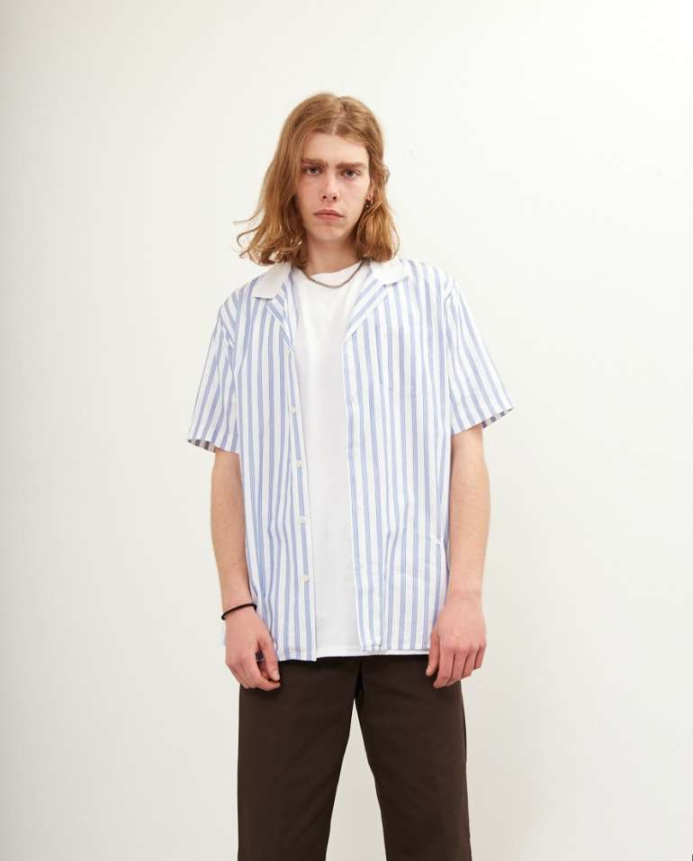 Stripe Shirt White T-shirt Black Jeans Mens Style