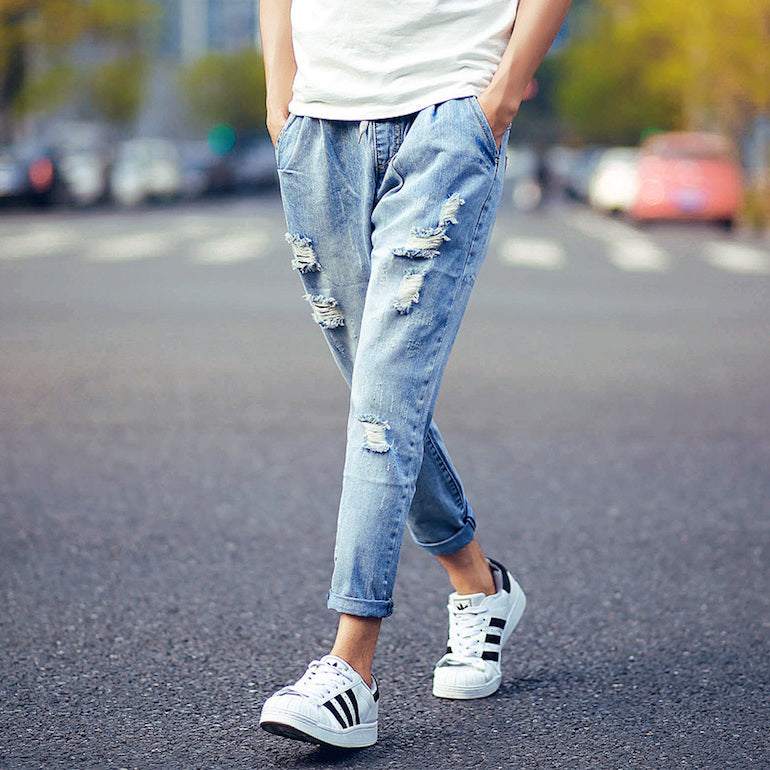 Summer-Style-Fit-Men-Jeans-Denim-Ripped-Jeans-Ankle-Length-Trainers