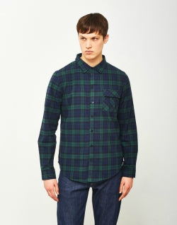 THE IDLE MAN Black Watch Check Shirt Navy Green mens