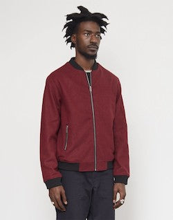 THE IDLE MAN Bonded Wool Bomber Jacket Burgundy