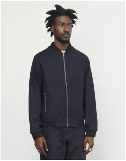 THE IDLE MAN Bonded Wool Bomber Jacket Navy Mens