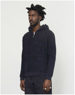 THE IDLE MAN Borg Zip Through Hoodie Navy Mens