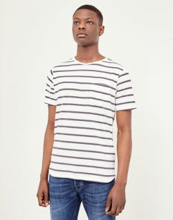 67837e3285e3 THE IDLE MAN Breton Stripe T-Shirt Black White mens