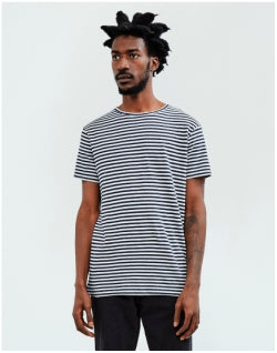 THE IDLE MAN Breton Stripe T-Shirt Navy Mens