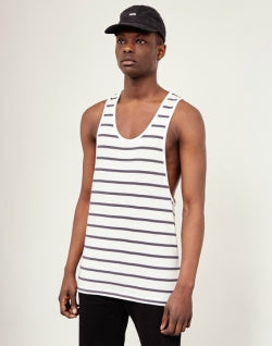 THE IDLE MAN Breton Stripe Vest White Navy mens
