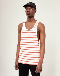 THE IDLE MAN Breton Stripe Vest White Red mens