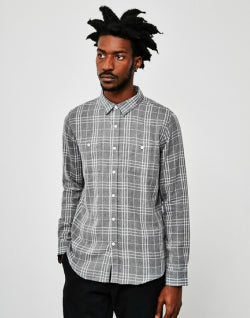 5777ac29dc1 THE IDLE MAN Brushed Check Shirt Grey mens