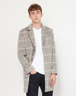 THE IDLE MAN Check Overcoat Grey mens