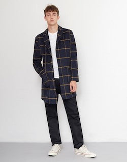 THE IDLE MAN Check Overcoat Navy mens