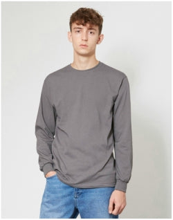 THE IDLE MAN Classic Long Sleeve T-Shirt Dark Grey Mens