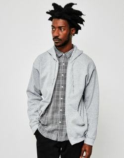 THE IDLE MAN Classic Zip Through Hoodie Grey mens
